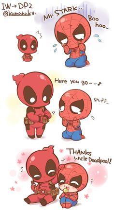 Funny Marvel Memes, Marvel Jokes, Marvel Heroes, Baby Avengers, Avengers Comics, Superfamily Avengers, Spideypool, Deadpool X Spiderman, Chibi Marvel