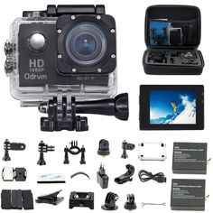 HD WiFi Underwater Camera Waterproof Diving 170 Degree Wide Angle inch LCD Display Action Cam with Battery and Outdoor Accessories Kits Helmet Cam Bicycle Action Camera for Kids Biking Riding Racing Skiing Motocross and Water Sports (Blue) 35mm Camera, Mini Camera, Camera Case, Motorcycle Helmet Camera, Bicycle Helmet, Water Camera, Waterproof Camera, Camera Equipment, Photo Equipment