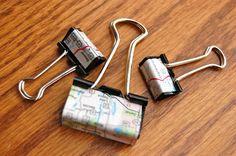 Cover binder clips with wleftover maps, or anything paper.