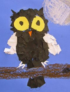 Torn paper owl art by daisy