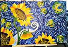 Sunflowers with a Van Gogh sky by Jeni 10.2015