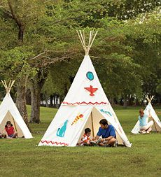 Natural Canvas Kid or family Teepees.  Weather-resistant and great for camping or slumber parties indoors or out.  Patterns provided for decorating.