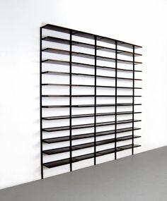 Osvaldo Borsani; #E22 Enameled Aluminum and Rosewood Shelves for Tecno, c1960.