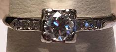 Vintage European Diamond Platinum Engagement Side Stones Ring Size 7.5 #SolitairewithAccents