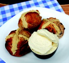 Mad Millie Cream cheese with homemade hot cross buns.