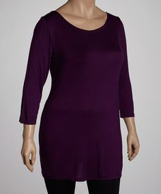 Take a look at this Purple Three-Quarter Sleeve Tunic - Plus by GLAM on #zulily today!