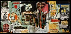 """""""Notary,"""" 1983, Jean-Michel Basquiat. Acrylic and crayon on canvas, 180.5 x 401.5 cm. Private Collection."""