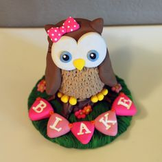 LARGE Owl Custom Cake Topper for Birthday or Baby by carlyace, $36.95