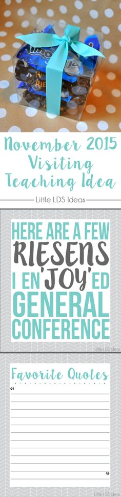 Need a cute idea for Visiting Teaching this month? Take a look at this great idea from Little LDS Ideas for a General Conference related handout.