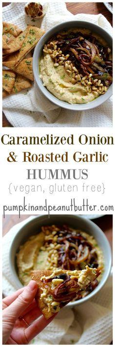 Caramelized Onion & Roasted Garlic Hummus {vegan, gluten free} // pumpkin & peanut butter