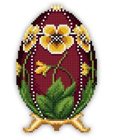 This pattern is designed by Stoyanka Ivanova of Solaria Gallery.This pattern displays an Easter Egg with a yellow pansy, this pattern is perfect for the holiday! Beaded Cross Stitch, Cross Stitch Borders, Cross Stitch Flowers, Cross Stitch Charts, Cross Stitching, Cross Stitch Embroidery, Cross Stitch Patterns, Needlepoint Patterns, Embroidery Patterns