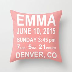 Throw Pillow Cover  Personalized Baby Girl Baby Boy by adidit, $36.00