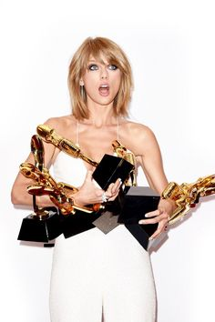 Taylor Swift with her 8 awards from Billboard Music Awards 2015 in Las Vegas, Nevada