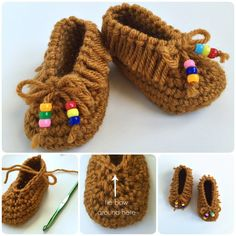 Crochet Baby Moccasins with Free Pattern