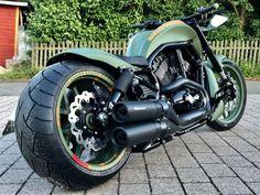 "Awesome custom bike Harley Davidson V Rod ""GreenDenim"" by Harley Davidson Night Rod, Harley Davidson Custom Bike, Harley Davidson Chopper, Harley Davidson Sportster, Custom Harleys, Custom Motorcycles, Custom Bikes, Kart, Motorcycle Garage"