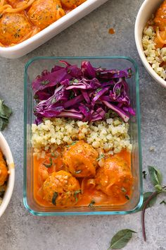 Red Coconut Curry Meatballs with Cauliflower Rice ; chicken ; oat ; coconut milk ; lime ; cabbage ; cilantro ; healthy ; asian