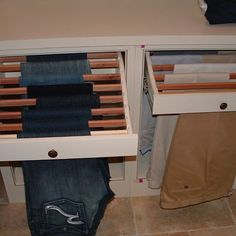 Pull out drying rack in laundry room