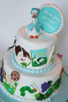 A perfect theme for a baby shower and cake...classic children's storybooks! I love this cake. From And Everything Sweet.