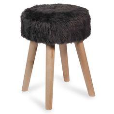 Sgabello in legno e simil pelliccia ...