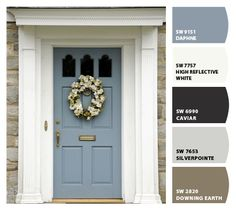 grey exterior house colors Paint colors from ColorSnap by Sherwin-Williams Front Door Paint Colors, Exterior Paint Colors For House, Painted Front Doors, Exterior Color Schemes, Paint Colors For Home, Exterior Design, Tan House, Pintura Exterior, House Paint Color Combination