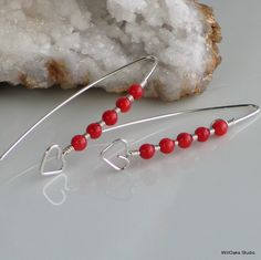 Beating Heart Red Coral Earrings Handmade in Sterling, Bright True Red Heart Stick Earrings, Hand Forged Silver and Coral Dangles