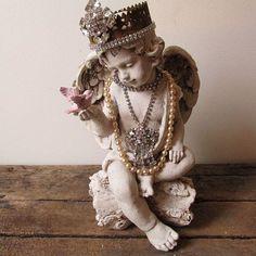 Cherub angel statue w/ handmade crown holding pink bird French Santos angelic shabby cottage chic embellished home decor Anita Spero Design