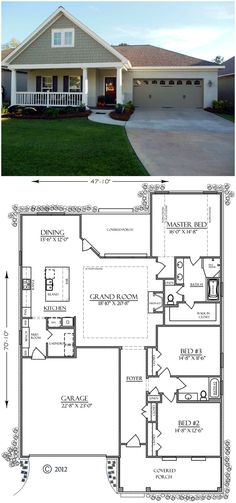 ***cool House Plan 74755 finally one I wouldn't change structurally. Just screen in ...