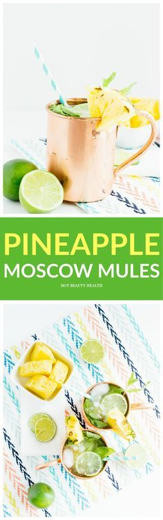 This pineapple moscow mule cocktail recipe is the perfect spring or summer drink that's full of tropical goodness. Contains alcohol and pineapple juice! #moscowmule #pineapplecocktail Hot Beauty Health