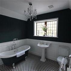 New bathroom dark blue walls farrow ball Ideas Hague Blue Bathroom, Dark Blue Bathrooms, White Bathroom Tiles, Bathroom Colors, Small Bathroom, Bathroom Ideas, Family Bathroom, Bathroom Things, Bathroom Inspo