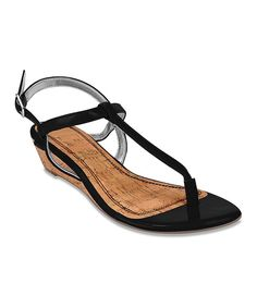 Look at this Black Demi-Wedge Sandal on #zulily today!