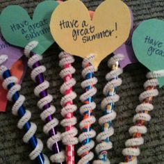 Created these pencil toppers for my Firsties. Last day is mañana.