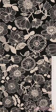 strong black oxford cotton fabric with black and cream round flowers with stripey petals and dotted centres, leaves and berries, Material: 100% cotton #Cotton #Oxford #Flower #Leaf #Plants #JapaneseFabrics