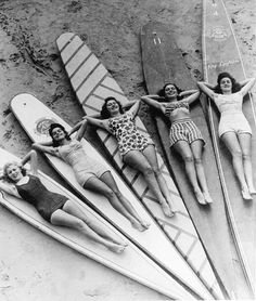 Surf sirens, Manly beach, New South Wales. 1936  Check out those long boards....