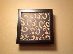 Door bell chime cover  Made from shadow box, burlap and black scroll cut scrap booking paper.