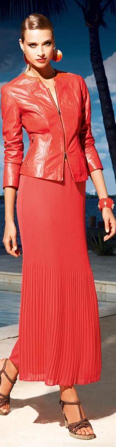 coral leather jacket and pleated skirt Coral Fashion, High Fashion, Love Fashion, Womens Fashion, Orange Fashion, Moda Coral, Madeleine Fashion, Blazers, Chiffon Skirt