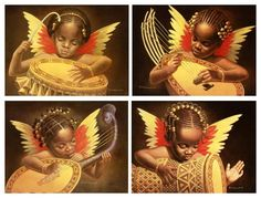 "I like these four African-American art prints by Wolfgang Otto entitled ""Black Angel Babies I-IV"". We currently have them on sale in our Monthly Specials section for 25.00 for the entire set of four."