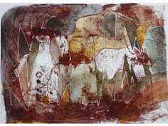 """Watercolor and Ink framed monoprint by Mary Ruedig, entitled """"Big Talk."""" Available for bid!"""