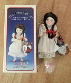 Vintage 1987 Kurt S. Adler Dorothy & Toto Porcelain Doll Christmas Ornament NEW