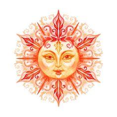 Illustrazione stock 144189538 a tema Sun Face Isolated On White Background Pont Royal, Desenho Tattoo, Sun And Stars, Crown Chakra, Cat Tattoo, Tattoo Moon, Star Sky, Face Art, Cartoon Drawings