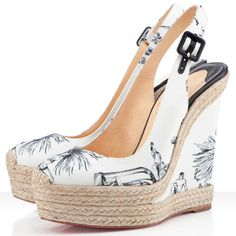 Christian Louboutin Shoes and Christian Louboutin Wedding Shoes, Christian Louboutin Everesta Slingbacks, Christian Louboutin Sale, Louboutin Wedges, Red Bottom Shoes, White Wedges, Fashion Heels, Runway Fashion, Latex Fashion, London Fashion, Teen Fashion
