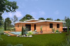 Wooden Home www.quick-garden.co.uk/residential-log-cabins.html Modern Bungalow House, Shed, Outdoor Structures, Plans, Architecture, House Styles, Quick Garden, Log Cabins, Home Decor