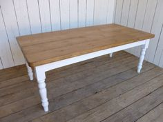 Rustic Farmhouse Kitchen Table from Reclaimed Wood with Country Cream Painted Legs by BilberryHandCrafted on Etsy https://www.etsy.com/listing/184145372/rustic-farmhouse-kitchen-table-from