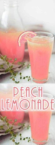 ღღ I love lemonade when it gets warm out. This Peach Lemonade Recipe is a re. CLICK Image for full details ღღ I love lemonade when it gets warm out. This Peach Lemonade Recipe is a refreshing twist. Party Drinks, Cocktail Drinks, Fun Drinks, Yummy Drinks, Healthy Drinks, Cocktail Recipes, Healthy Food, Food And Drinks, Rose Cocktail