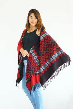 Red Black Poncho Rug Pattern Poncho Ethnic Poncho Tribal by Urbe