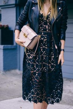 Lace MiDi Dress - Moto Jacket