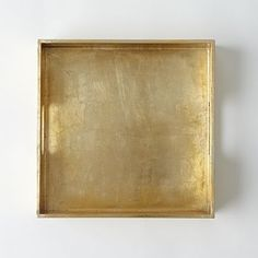 "West Elm Wood Tray, 12""X12"", Gold"