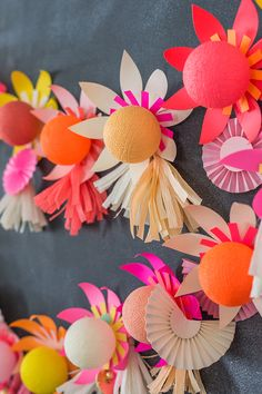 DIY paper flower lights using Bright Lab on The House That Lars Built Diy Flowers, Colorful Flowers, Paper Flowers, Diy Party Decorations, Bridal Shower Decorations, Diy And Crafts, Paper Crafts, Diy Paper, Neon Crafts