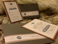 Best invites ever! Laura Damiano Designs, created them. Rustic chic anthropologie vintage wedding theme.