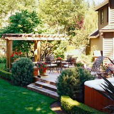 Ideas for Sprucing up a Platform Deck: Shrubbery outlining the deck & Trellis