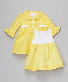 Look at this Gerson & Gerson Yellow Babydoll Dress & Swing Coat - Infant on #zulily today!
